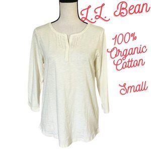L.L. Bean 100% Organic Cotton Splitneck Tee Shirt